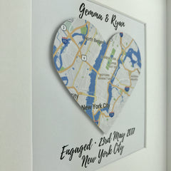 Framed map heart | engagement gift | travel | personalised gift | wedding | anniversary