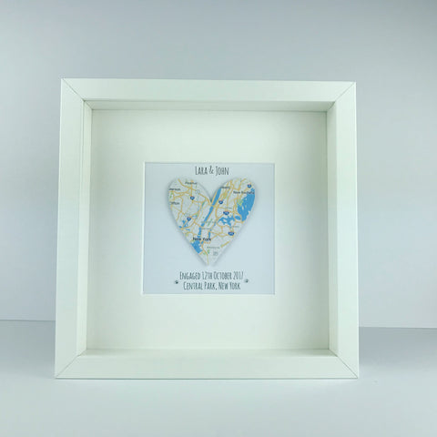 Framed map heart engagement gift | engagement | anniversary