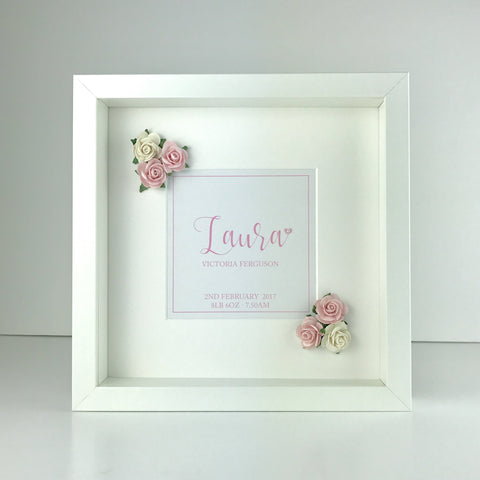 Personalised flower frame | new baby gift | christening gift | nursery decor
