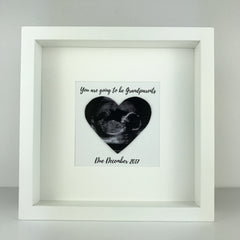 Baby scan photo keepsake | new grandparents personalised box frame | pregnancy announcement