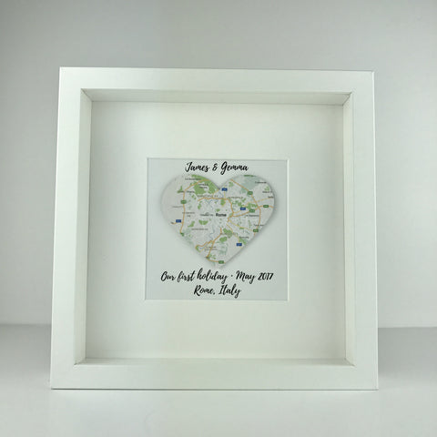 Framed map heart | first holiday keepsake | travel | personalised gift | special holiday | anniversary