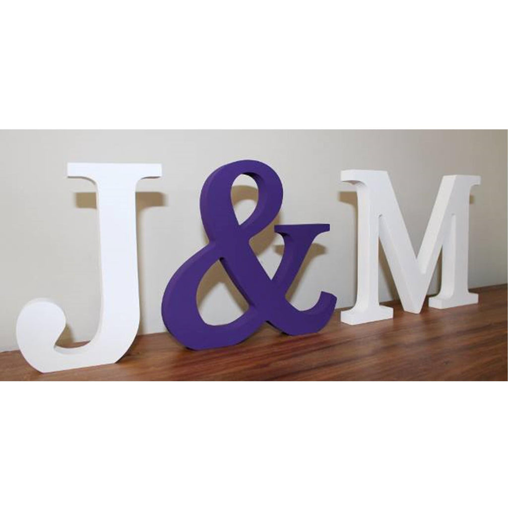 Couples freestanding wooden initials. hand painted in white and purple