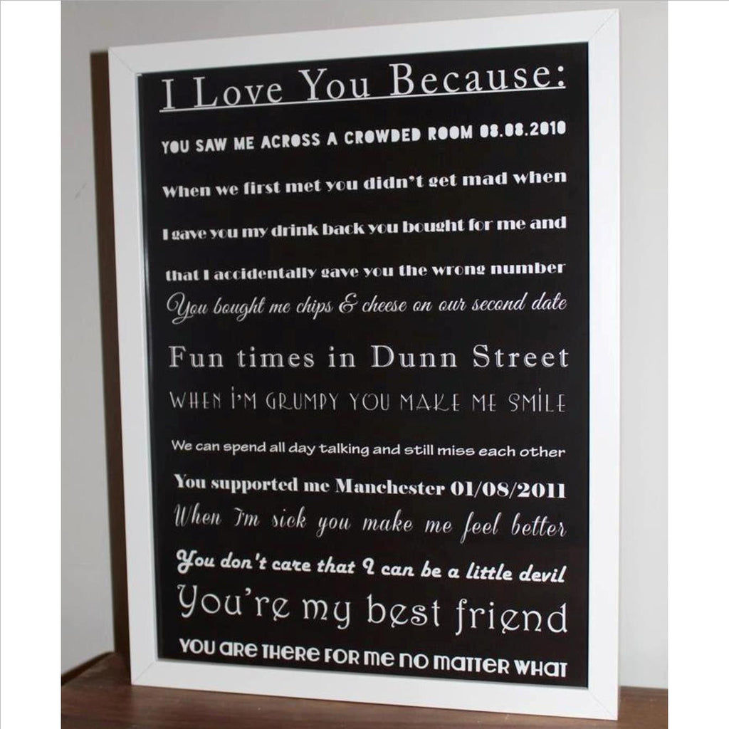 I love you because.. framed print with all your favourite memories