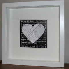 Map heart personalised framed print