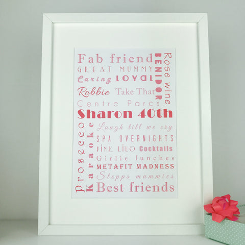 Personalised birthday print | memories word art frame