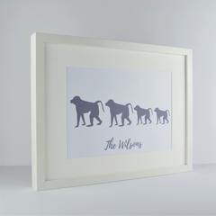 Monkey Family Personalised print | New home gift | Housewarming present