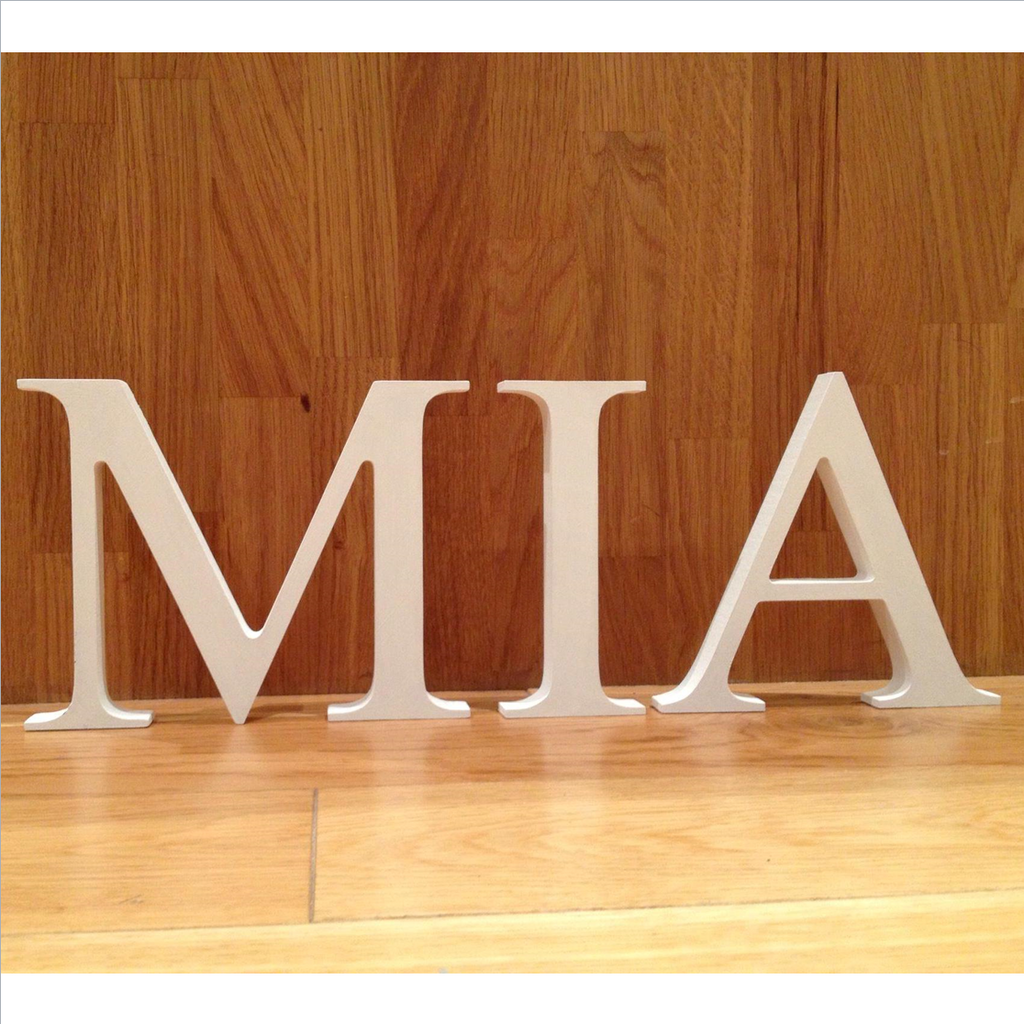 Freestanding handpainted wooden letters