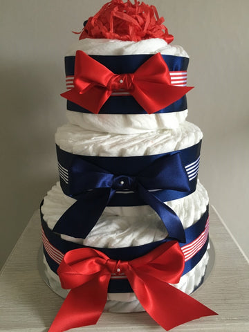 Gorgeous 3 Tier Nappy Cake Decorated with Beautiful Red, White and Navy Ribbon