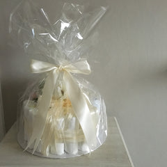 Gorgeous Nappy Cake Decorated with Satin Ribbon and Silk Flowers