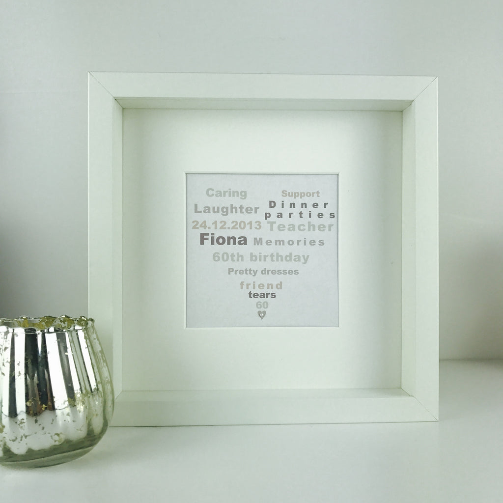 Personalised small heart birthday print | framed heart keepsake gift