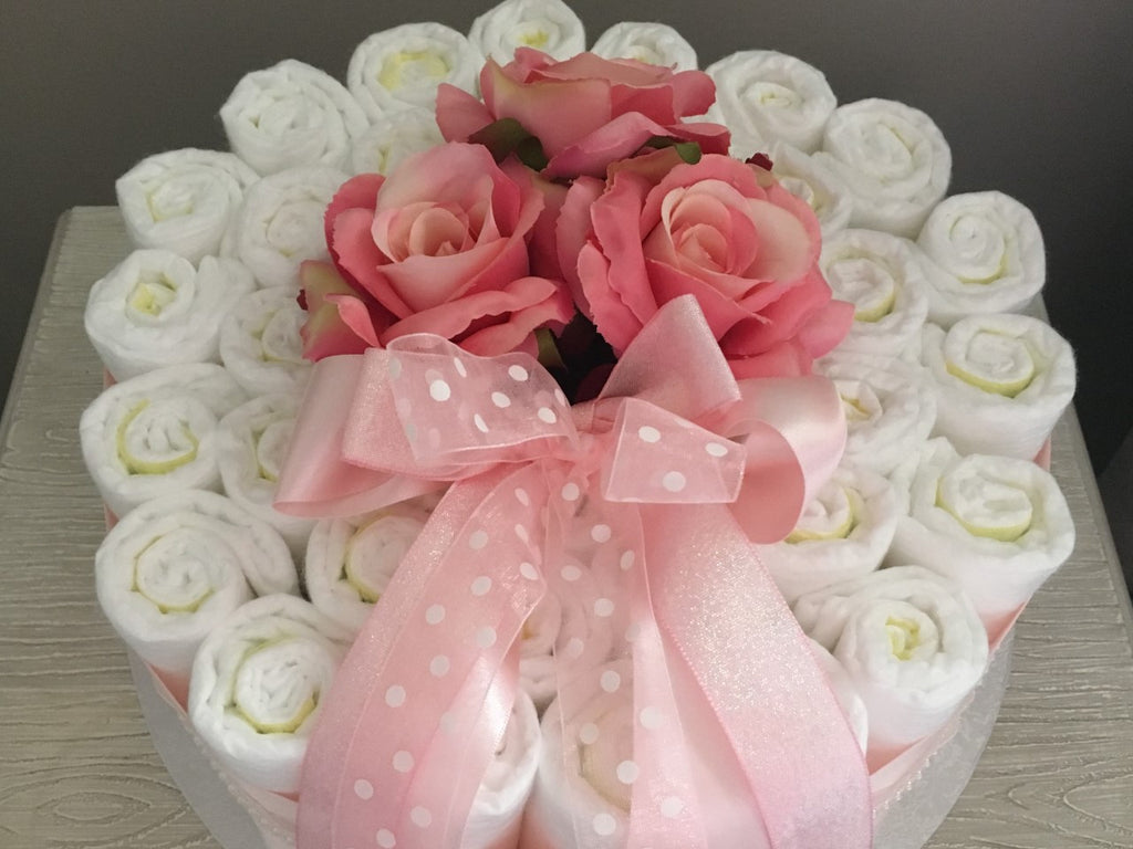Gorgeous Pink Nappy Cake Decorated with Satin Ribbon and Silk Flowers