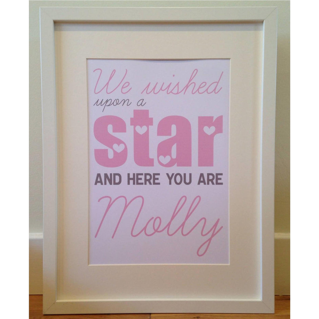 We wished upon a star and here you are personalised framed baby print