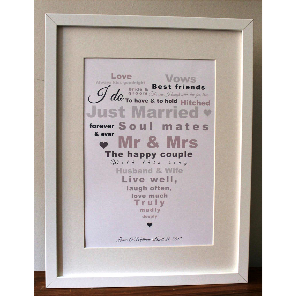 Framed heart print with personalised wedding details