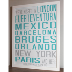 we kissed in personalised framed destination print