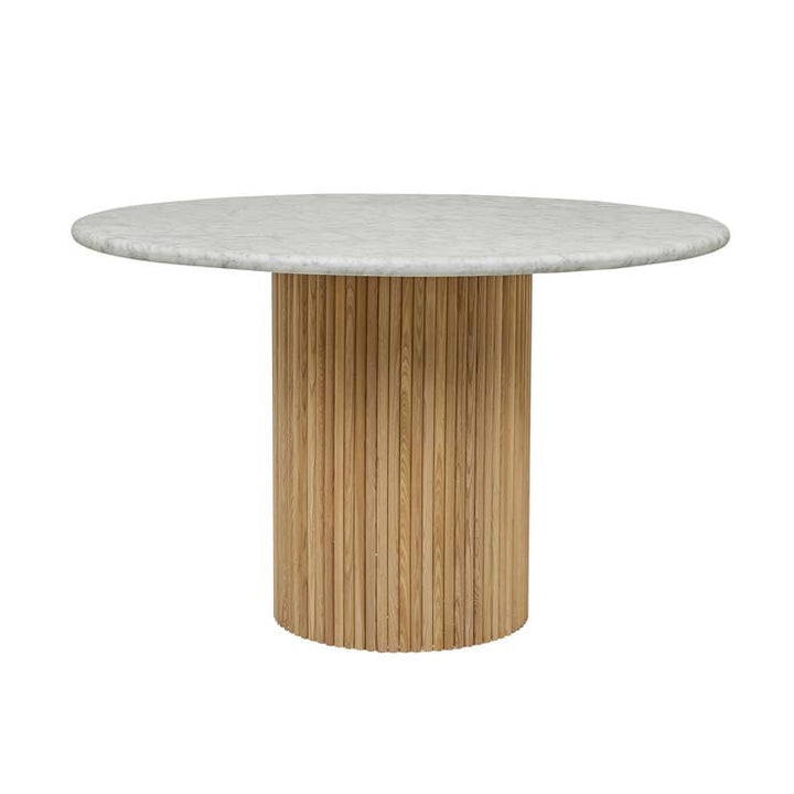 Benjamin Ripple Marble Dining Table - Natural Ash/White