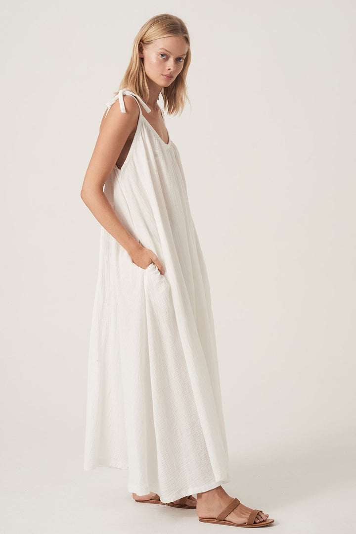 Tie Me Maxi Dress - White