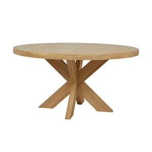 GlobeWest | Acre Round Dining Table- Natural Oak