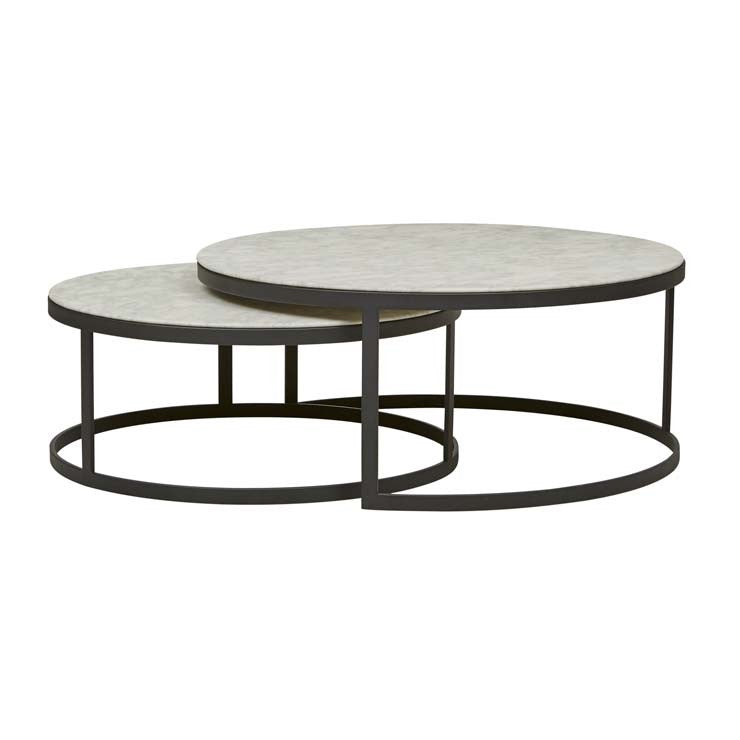 GlobeWest | Elle Flat Nest Coffee Tables- White Marble/ Black