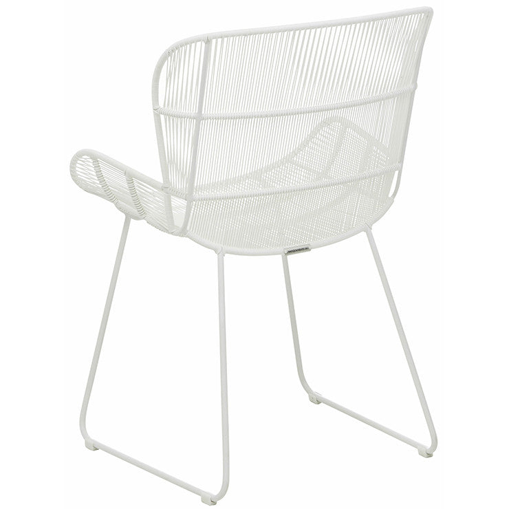GlobeWest | Granada Butterfly Open Weave Dining Chair - White
