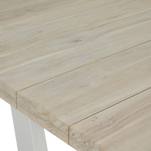GlobeWest | Mauritius Island Dining Table (Outdoor) - Aged Teak/White