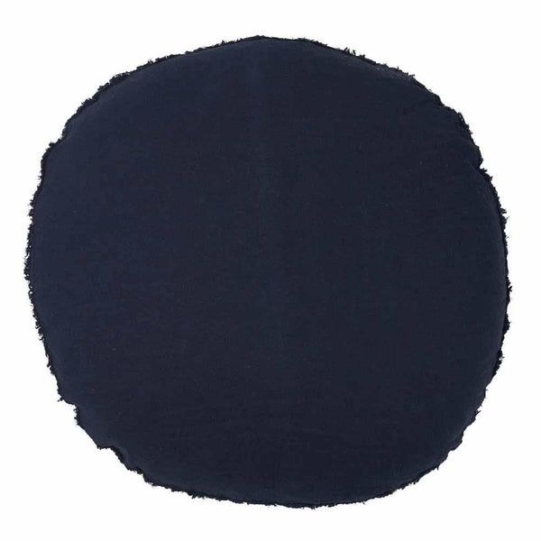 Lulu 100% European Linen Round Cushion Navy 60cm