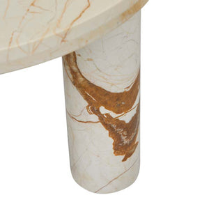 GlobeWest | Amara Round Leg Side Table - Brown Vein Marble