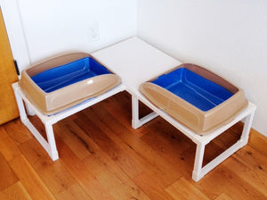 Two XL Litter Pans Corner Unit