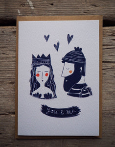 "Valentines Day card ""you & me"" lovers"