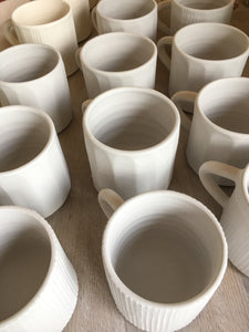 White faceted stoneware mug // made to order