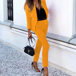 Office Lady Solid Color Blazer Jacket and Long Pants Two-piece Set