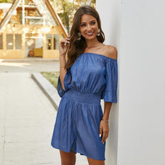 Off Shoulder Denim Blue High Waist Ropmer
