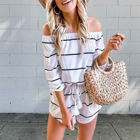 Summer Off Shoulder Striped Romper