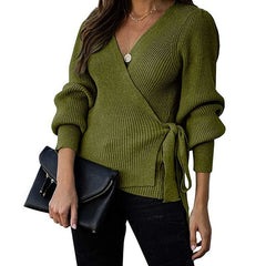 Women Wrap V-neck Bandage Sweater