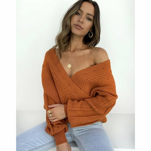 V-neck Wrap Loose Knitted Sweater