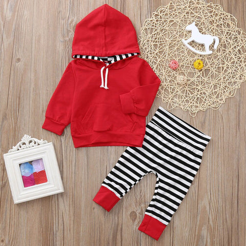 2PCS Toddler Baby Girls Long Sleeve Stripe Print