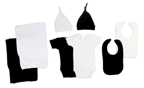 Black and White 8 Piece Layette Set
