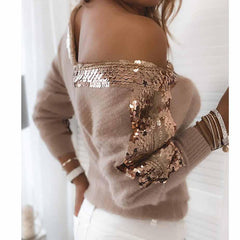 V-neck Patchwork Sequin Long Sleeve Sweater Pullover