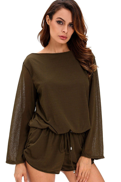 Army Green Oversize Bodice Long Sleeve Hollow-out Back Short Romper
