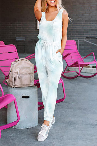 Casual Blue Tie Dye Drawstring Jogging Jumpsuit