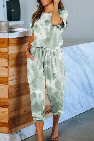 Casual Pocketed Green Tie-dye Short Sleeve Knit Jumpsuit