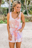 Cute Sleeveless Lavender Peach Tie Dye Romper