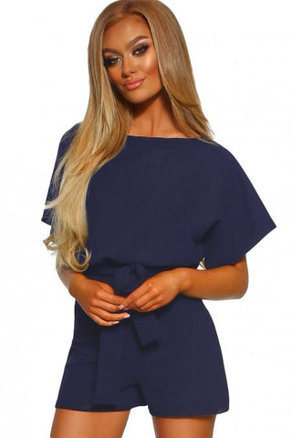 Fashion Blue Over The Top Belted Playsuit