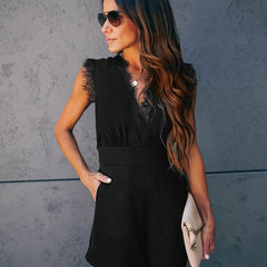 Sexy V-neck Lace Elegant Street Wear Black Jumpsuit Romper
