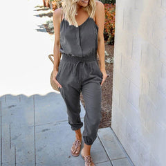 Rompers Womens Jumpsuit Pocket Elastic Waist  Jumpsuits