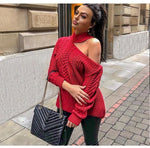 Women Sexy Turtleneck Open Shoulder Pullovers