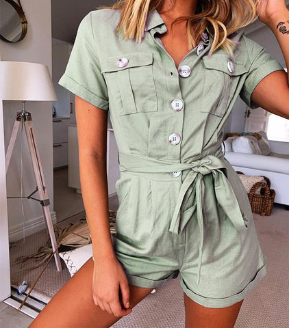 Buttons Down Green Playsuit Sashes Tie Up Romper