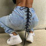High Waits Bandage Sexy Jeans Streetwear