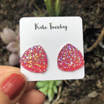 Pink Triangle Large Druzy Earrings