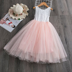 3-8T Lace Back V Little Girl Princess Kids Formal