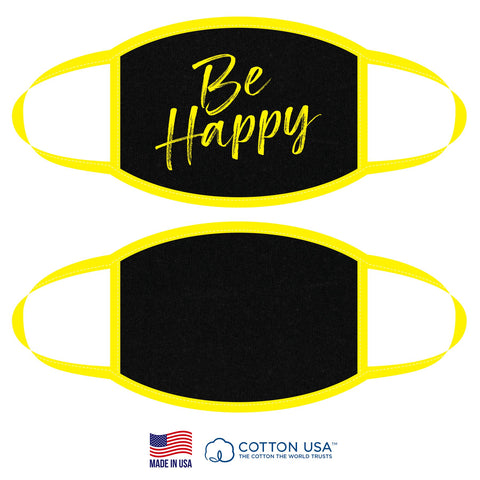 Neon Yellow BE HAPPY Fabric Face Mask